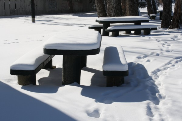 Snow Covered Picnic Tables - Free High Resolution Photo