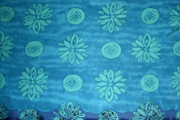Blue Fabric Texture with Teal Flowers and Circles - Free High Resolution Photo