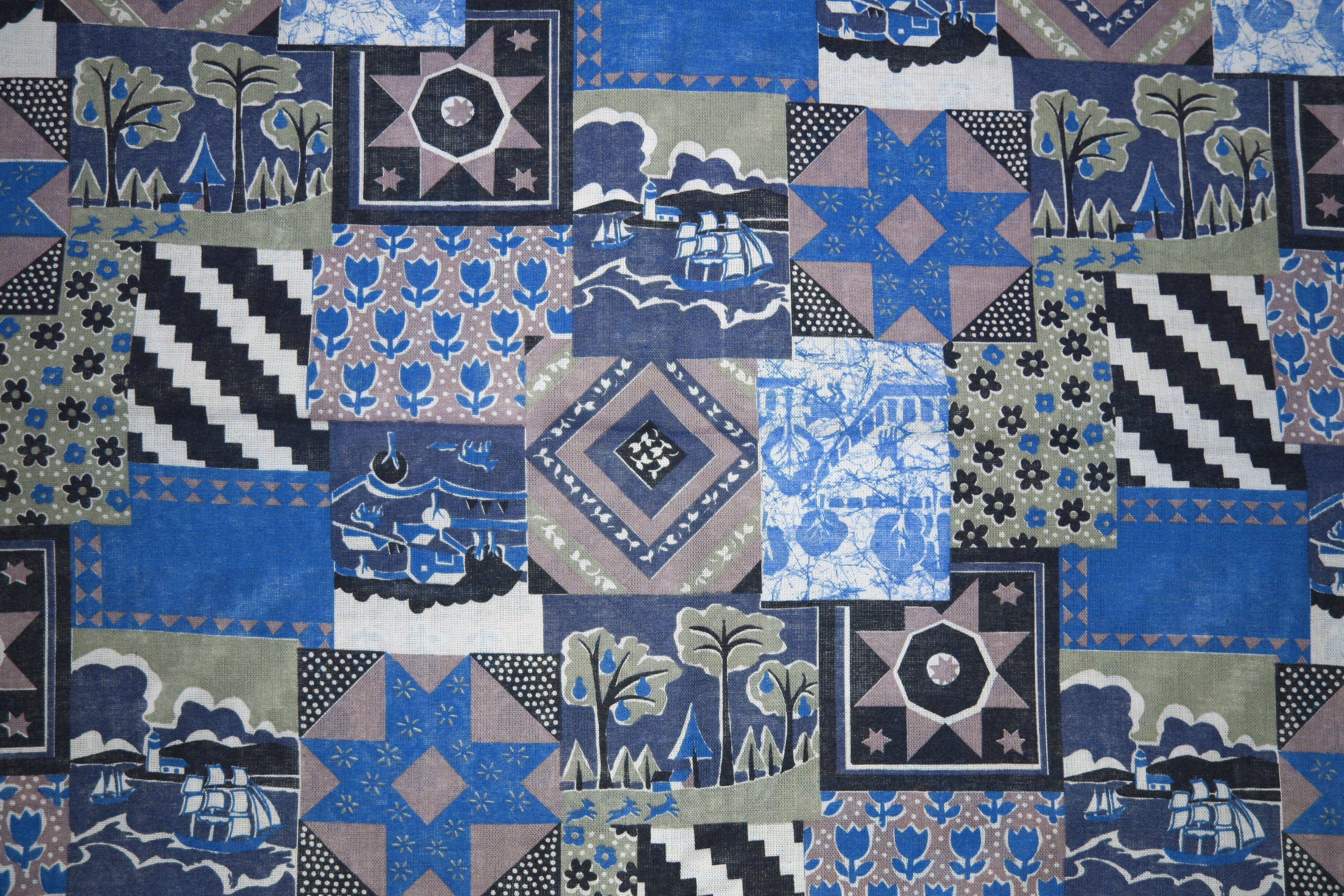 Blue Patchwork Quilt Fabric Texture Picture Free