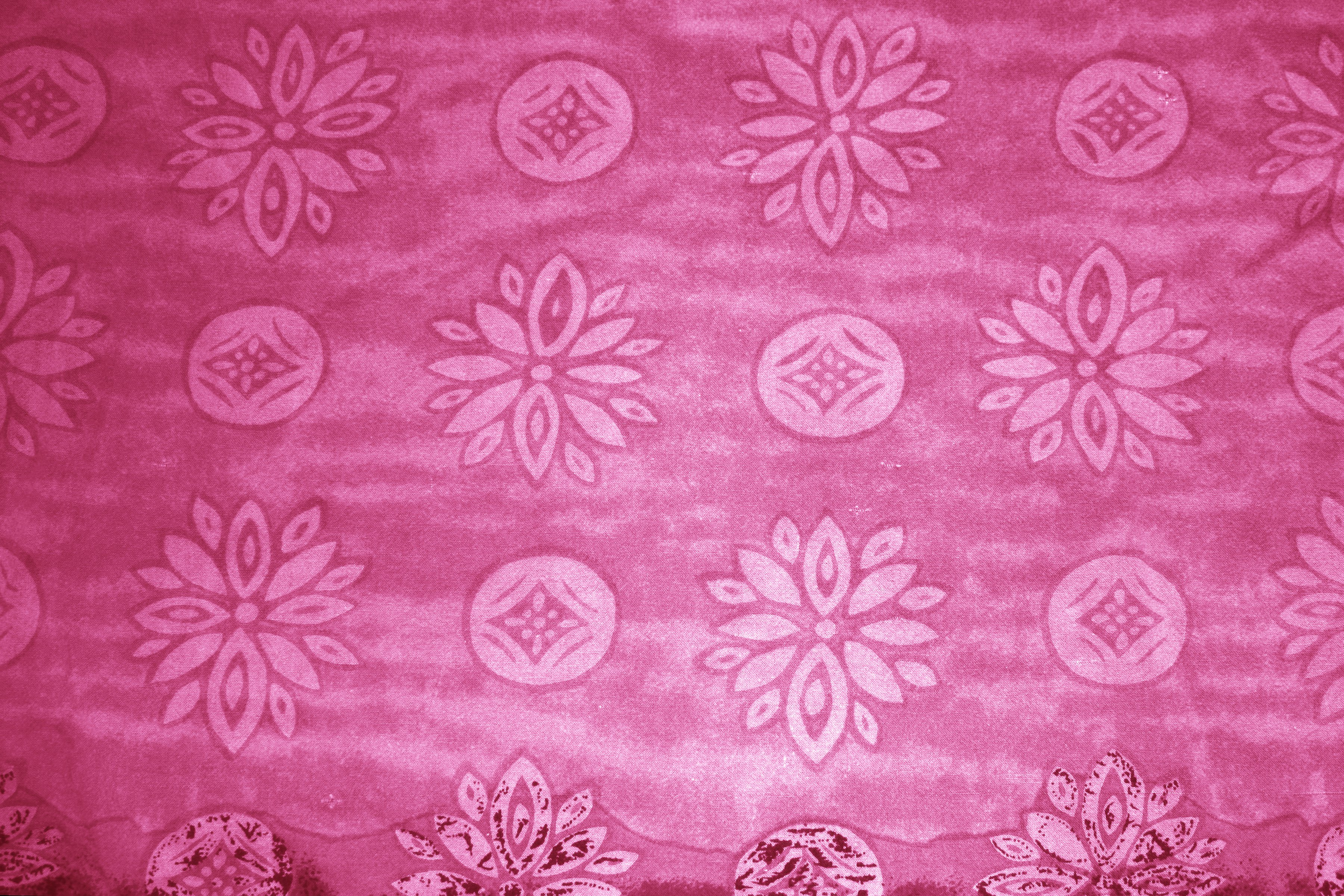 Cherry Red Fabric Texture With Flowers And Circles Picture