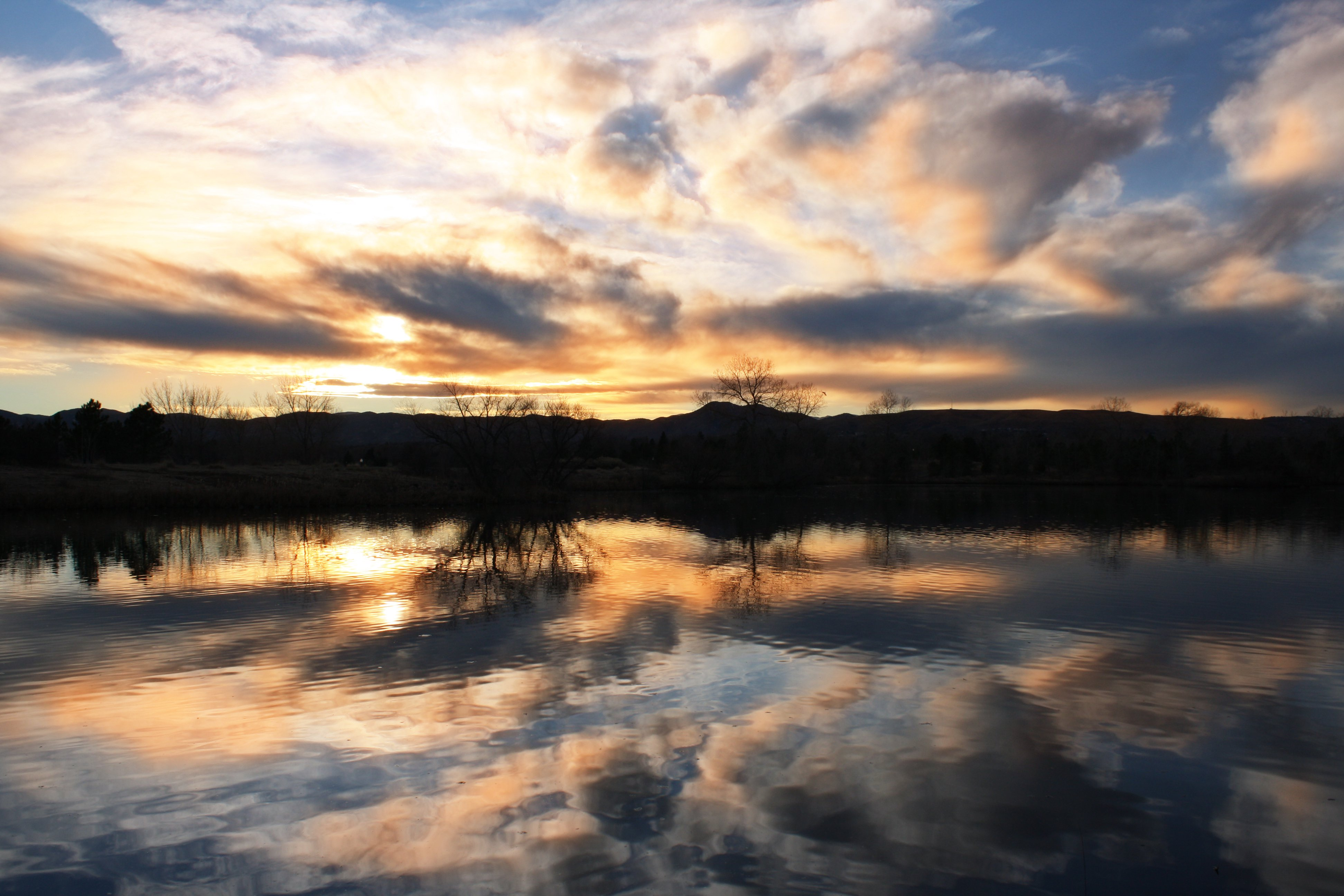 Sunset Reflected In Water Of Lake Picture Free