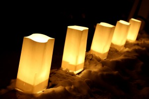 Electric Luminary Bag Lights in the Snow - Free High Resolution Photo