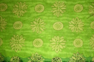Green Fabric Texture with Yellow Flowers and Circles - Free High Resolution Photo
