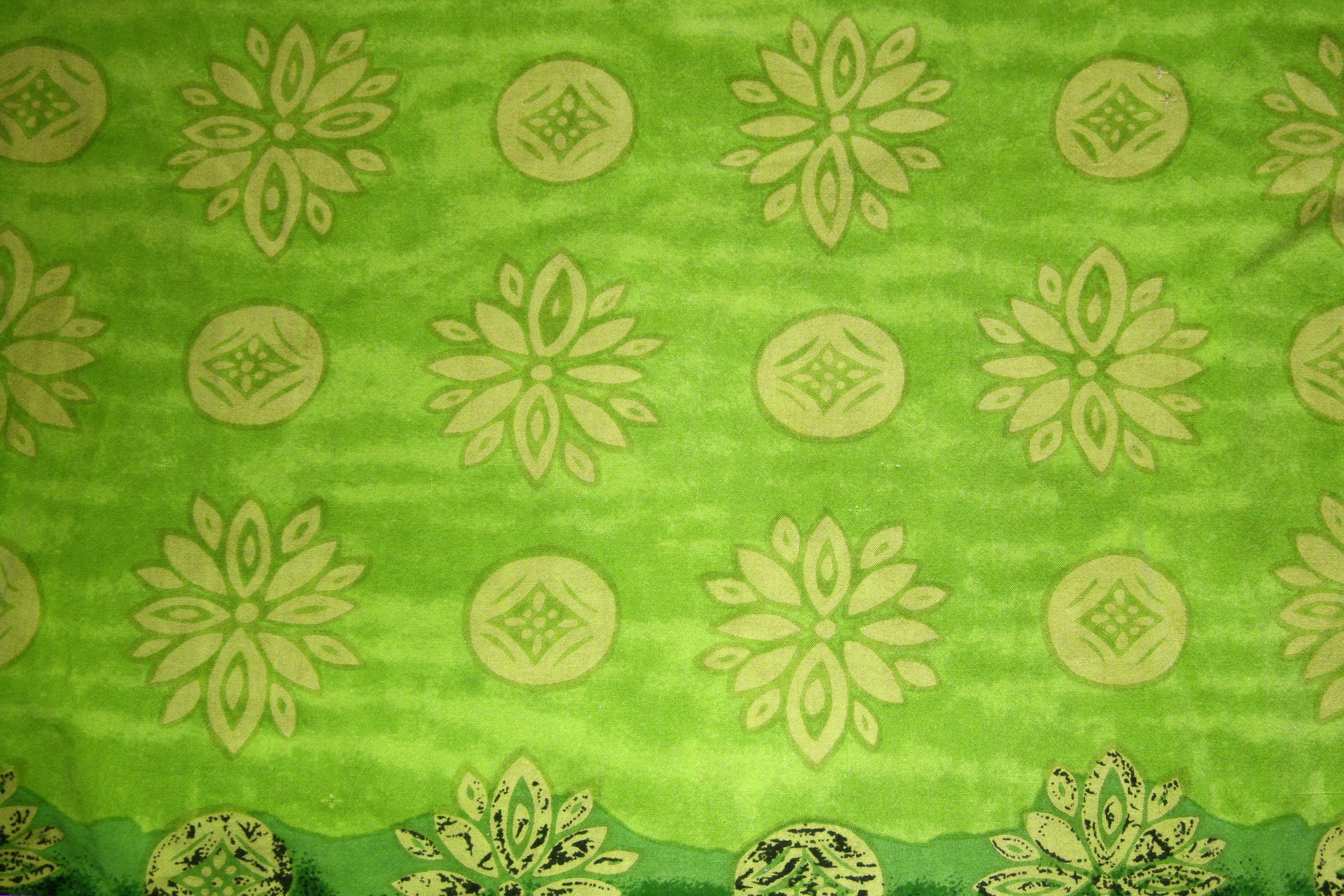 Green Fabric Texture with Yellow Flowers and Circles Picture ...