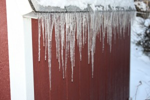 Icicles Hanging from Shed Roof - Free High Resolution Photo