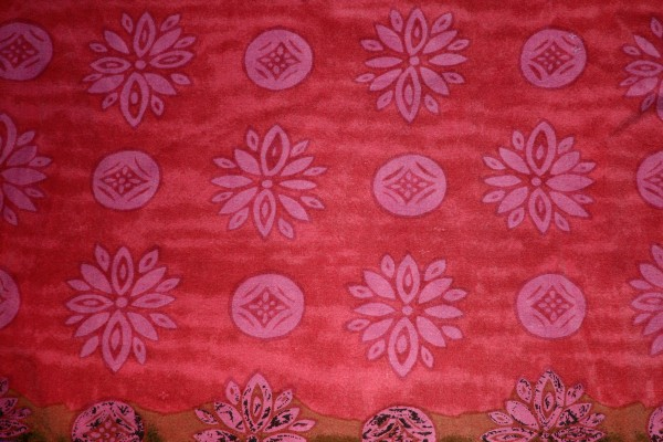 Red Fabric Texture with Pink Flowers and Circles - Free High Resolution Photo