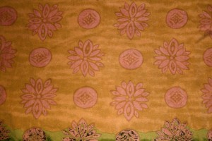 Rust Orange Fabric Texture with Flowers and Circles - Free High Resolution Photo