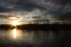 Sun Setting Over Lake - Free High Resolution Photo