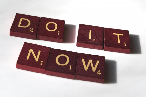 Do It Now - Free High resolution photo of Scrabble Letter tiles spelling out the phrase: Do It Now