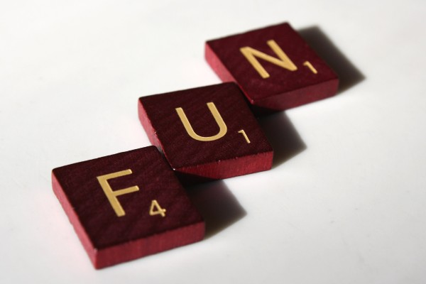 Fun - Free high resolution photo of the word fun spelled in scrabble letter tiles.