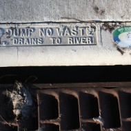 Dump No Waste Drains to River Sign on Storm Drain - Free High Resolution Photo