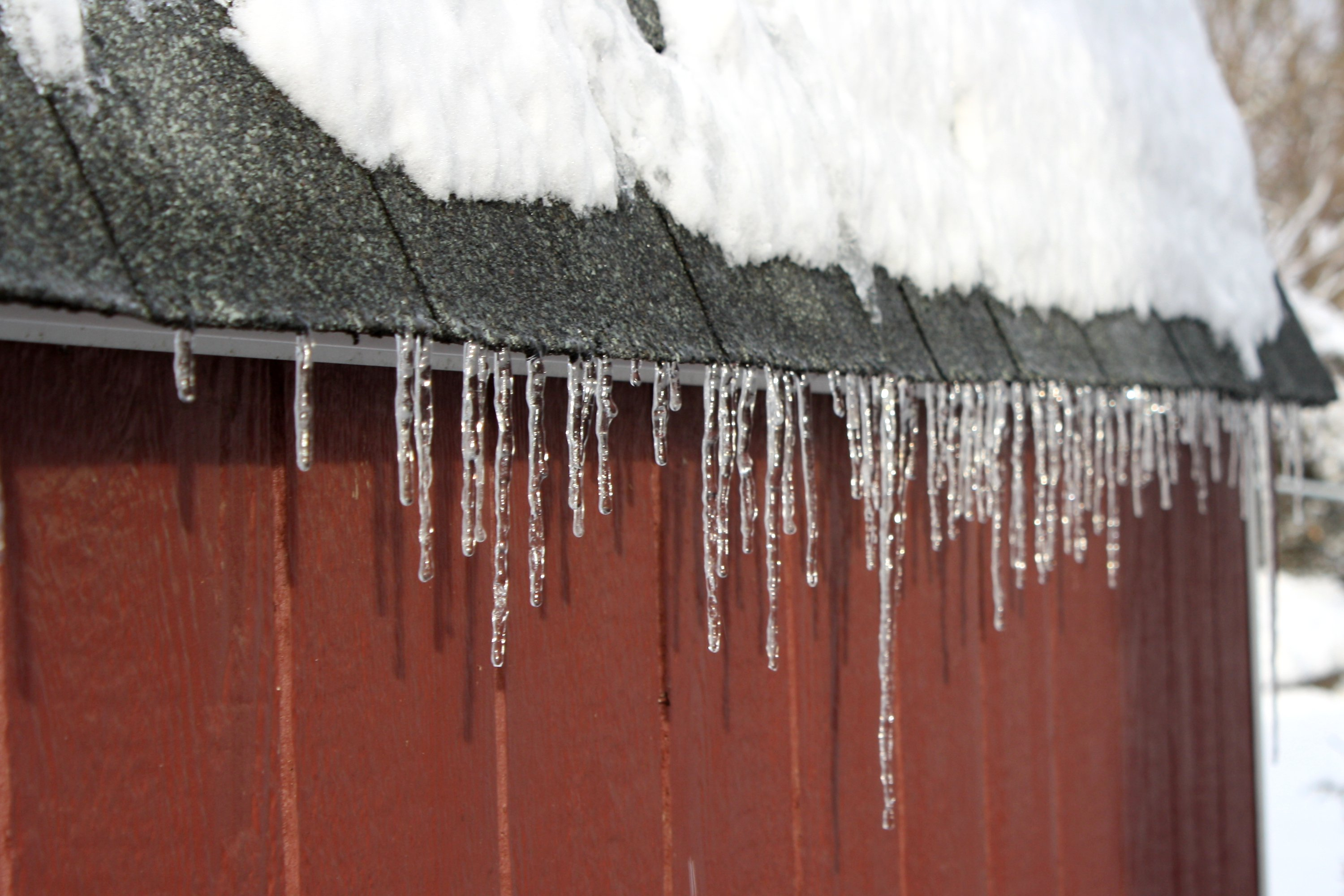 Icicles Hanging Off Roof Picture Free Photograph