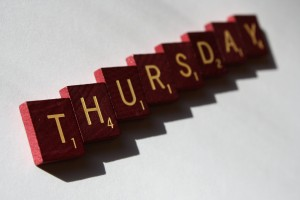 Thursday - free high resolution photo of the word Thursday spelled in Scrabble letter tiles