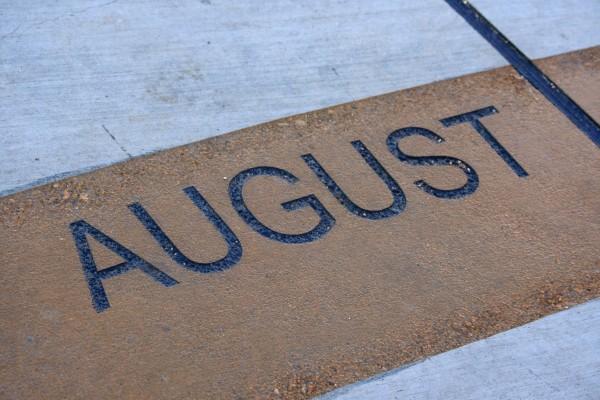 August - Free high resolution photo of the word August - part of a sidewalk sun calendar