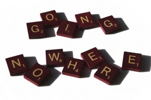 Going Nowhere spelled in Scrabble letter tiles - Free high resolution photo