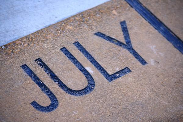 July - Free high resolution photo of the word July - part of a sidewalk solar calendar