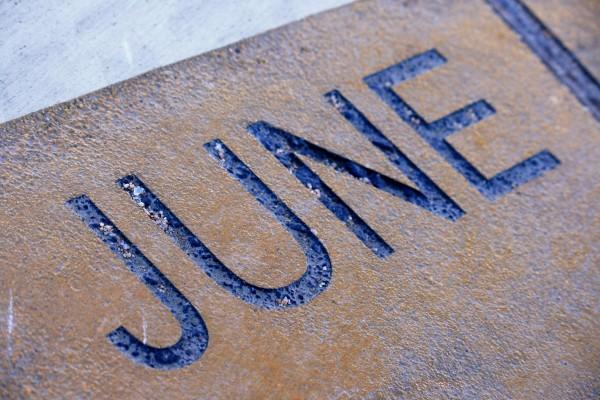June - Free high resolution photo of the word June - part of a sidewalk solar calendar
