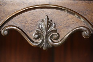 Leaf Scroll Carved Wooden Decoration on Antique Radio Cabinet - Free High Resolution Photo