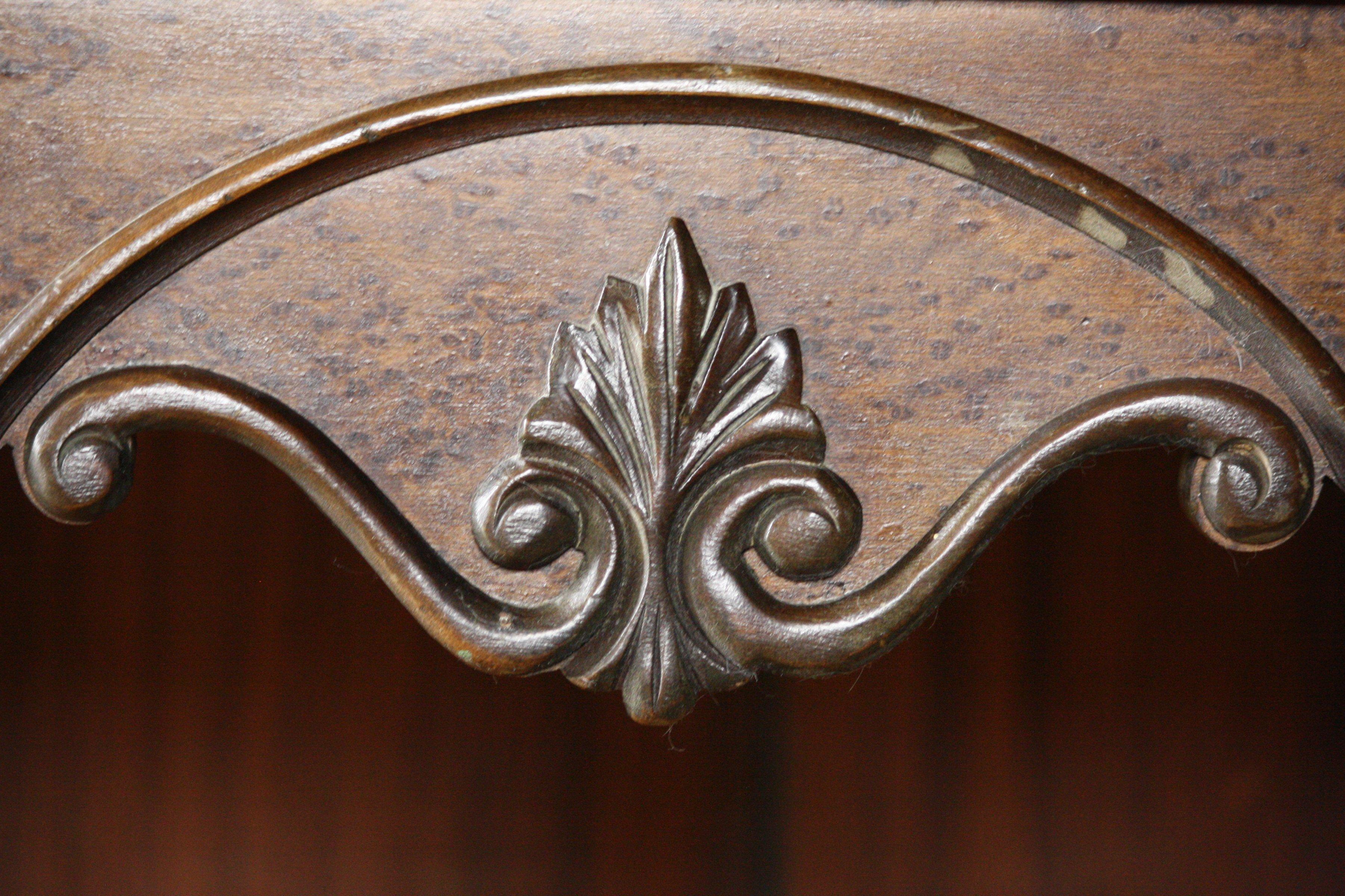 Wood carving designs furniture - Leaf Scroll Carved Wooden Decoration On Antique Radio Cabinet