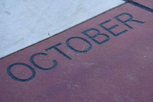 October - Free high resolution photo of the word October - part of a sidewalk solar calendar