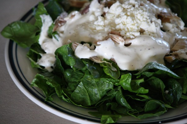 Spinach Salad with Chicken, Feta and Cream Dressing - Free High Resolution Photo