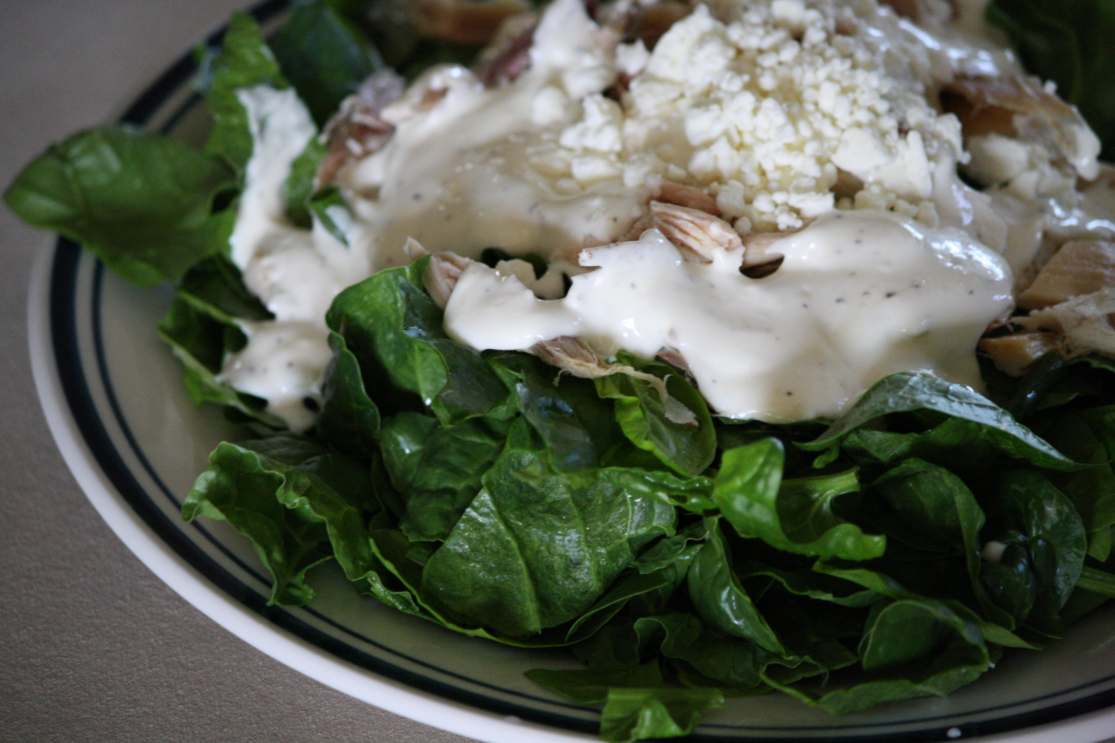 Spinach Salad with Chicken, Feta and Cream Dressing Picture | Free ...