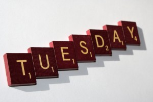 Tuesday - Free high resolution photo of Scrabble letter tiles spelling Tuesday