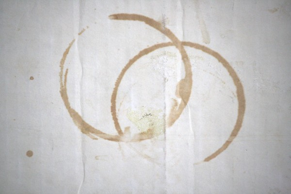 Two Circles Stained on Grungy White Cardboard - Free High Resolution Photo