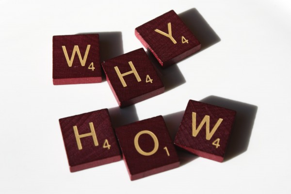 Why? How? Free high resolution photo of Scrabble letter tiles spelling the words why and how