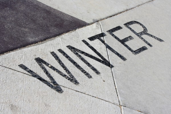 Winter - Free high resolution photo of the word winter - part of a sidewalk solar calendar