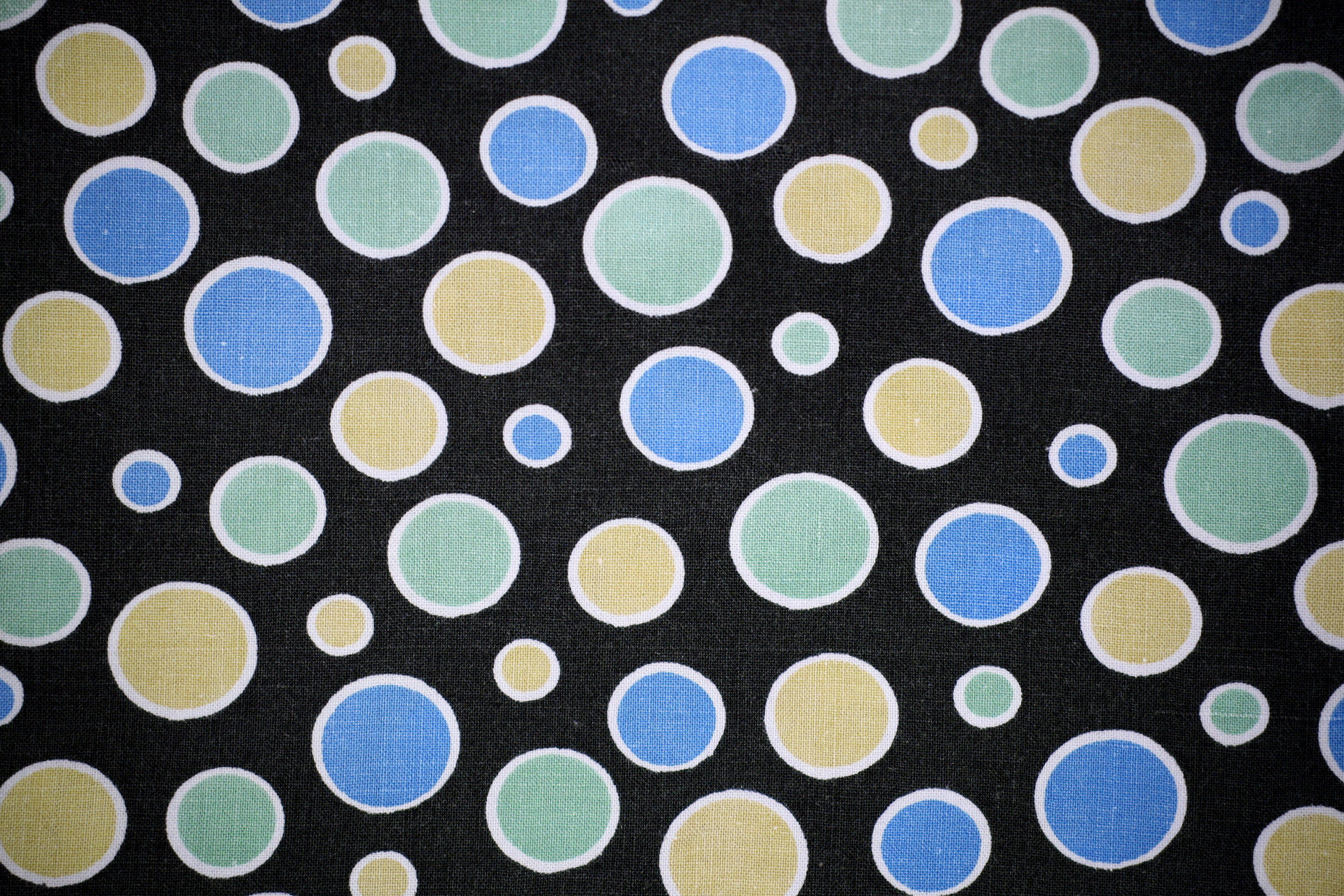 Black Fabric with Blue, Green and Yellow Dots Texture Picture ...