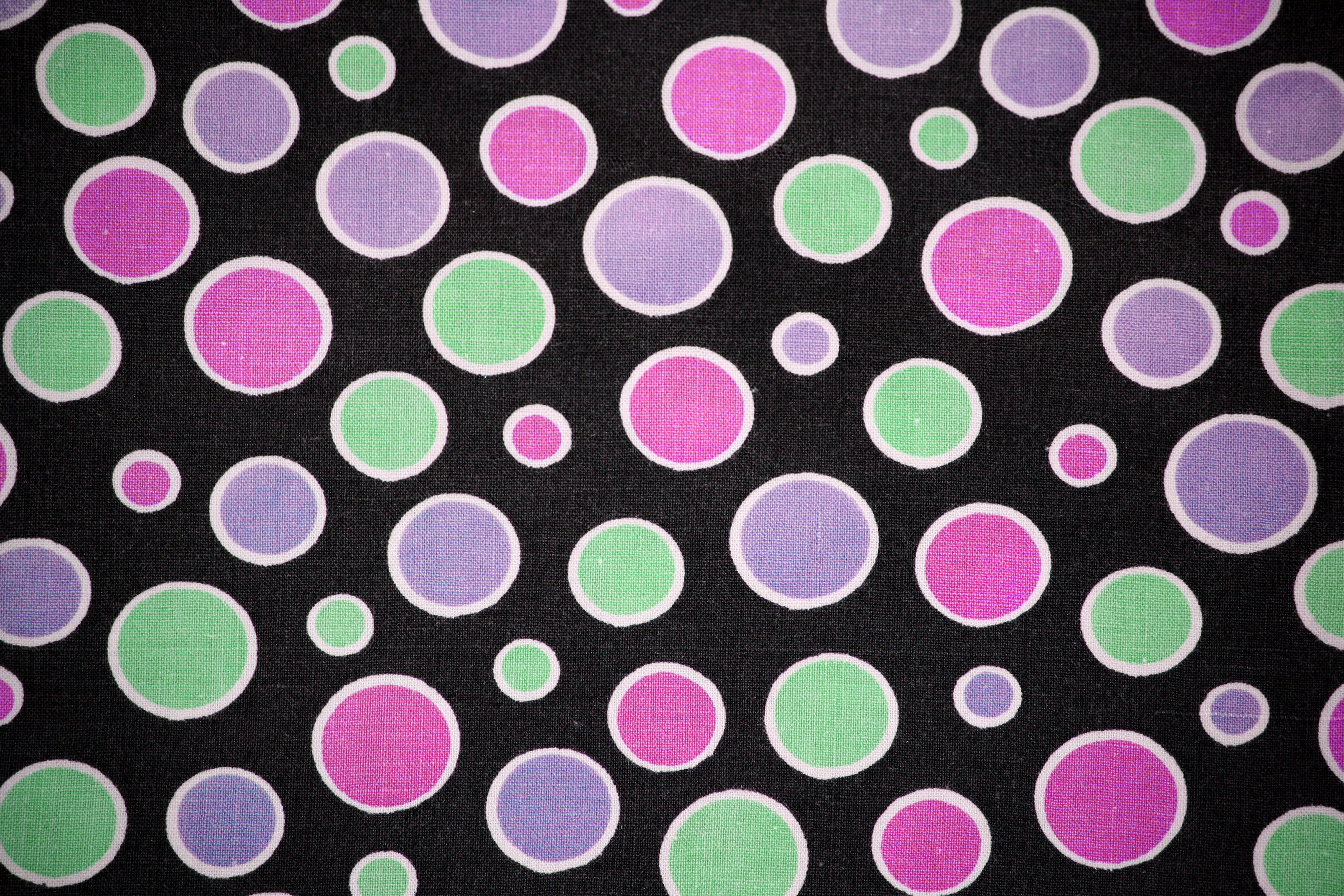 Black Fabric with Pink, Green and Purple Dots Texture Picture ...