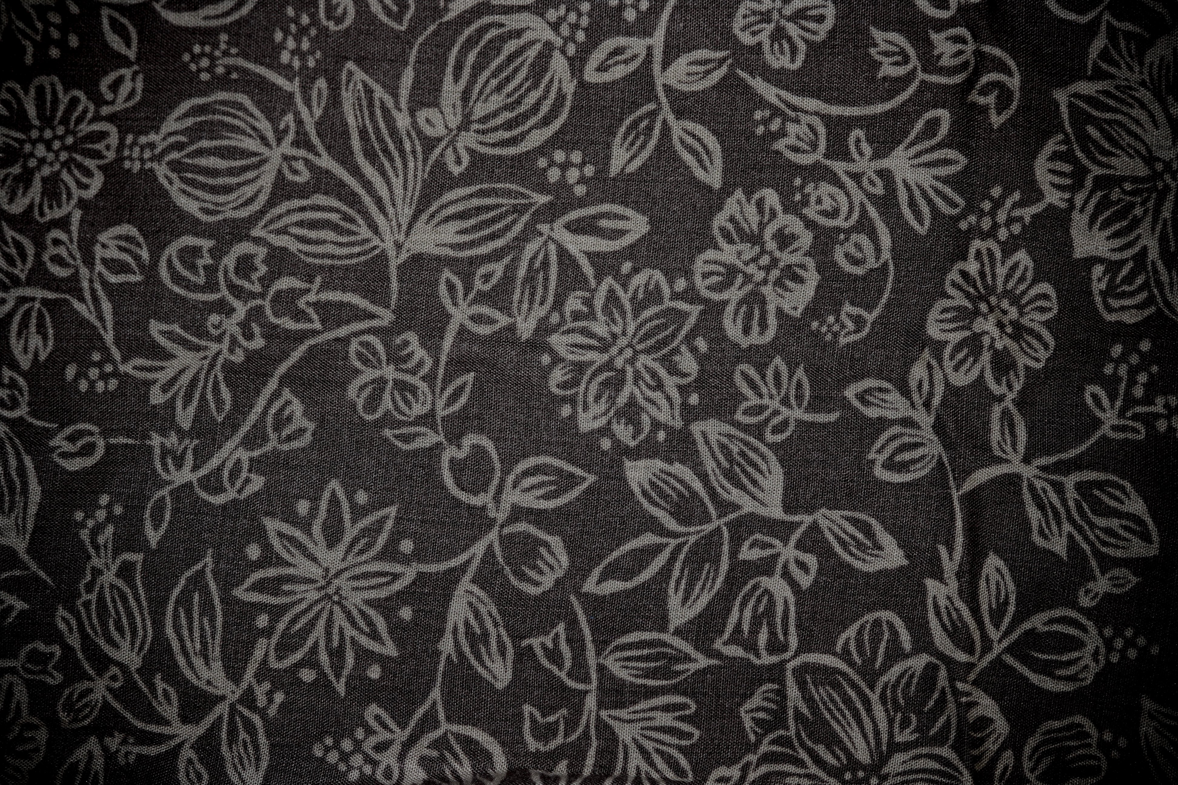 Black Fabric with Floral Pattern Texture Picture | Free ...