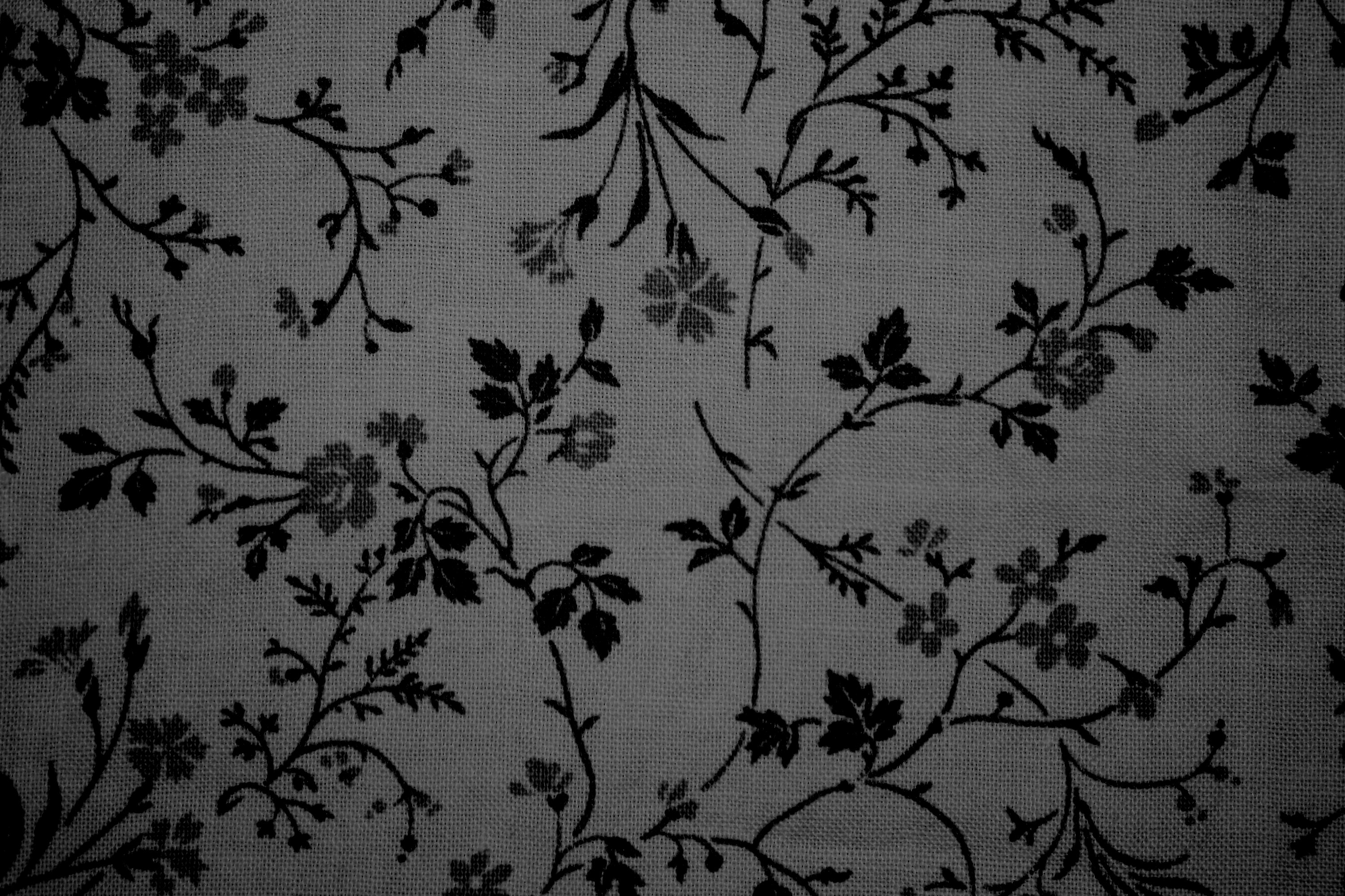 Black on Gray Floral Print Fabric Texture Picture | Free ...