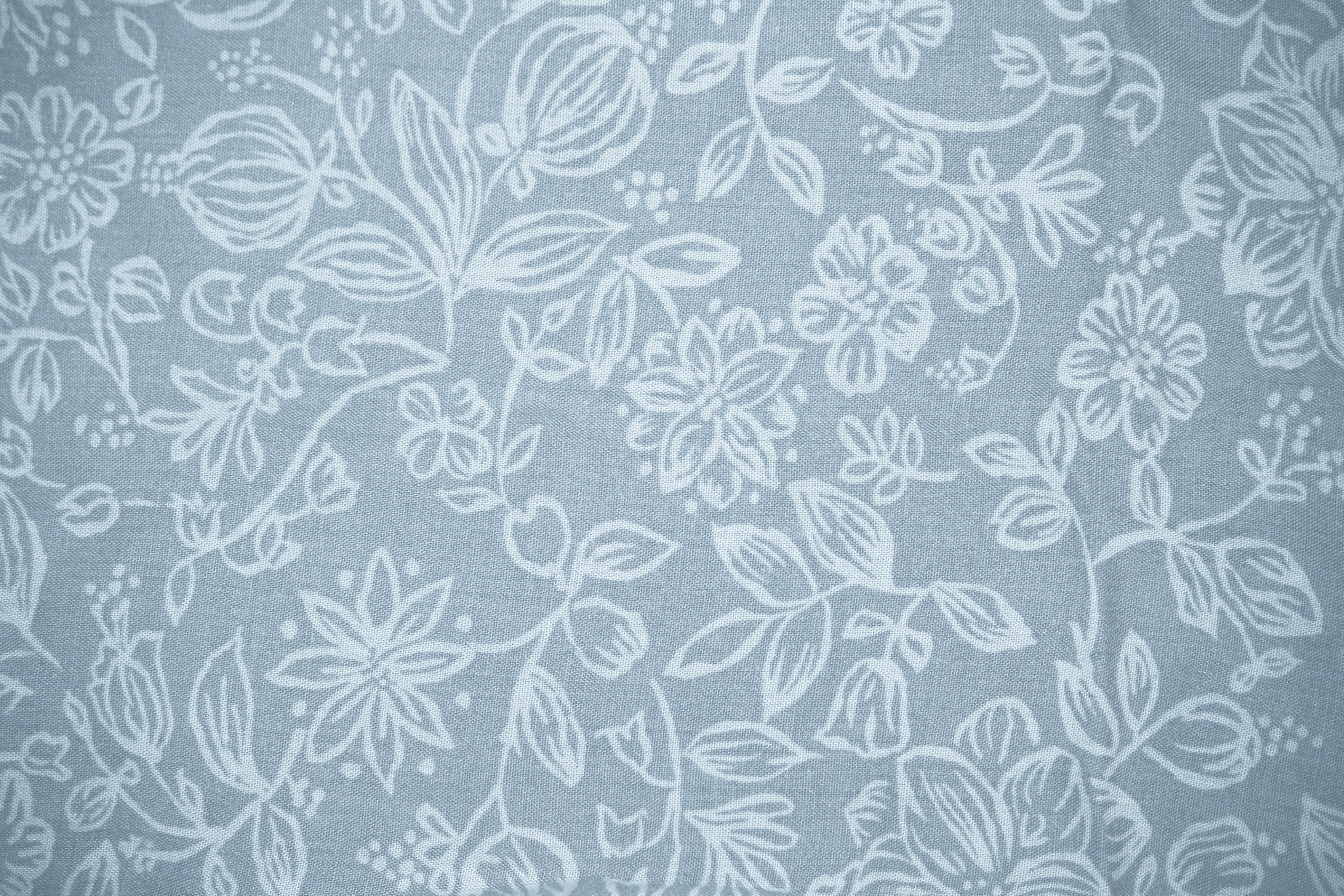 Blue Gray Fabric with Floral Pattern Texture Picture | Free ...