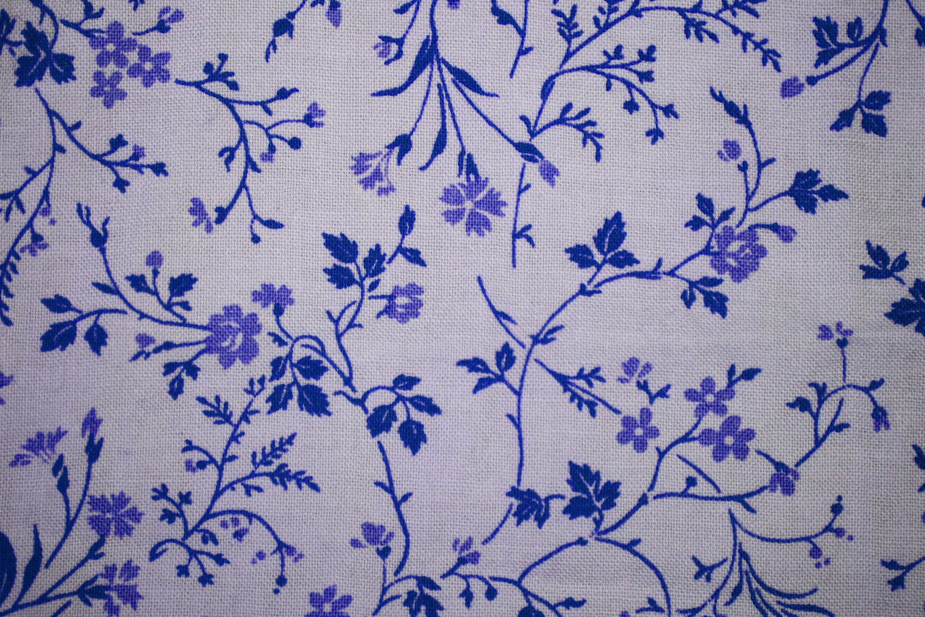 Blue On White Floral Print Fabric Texture Picture Free Photograph