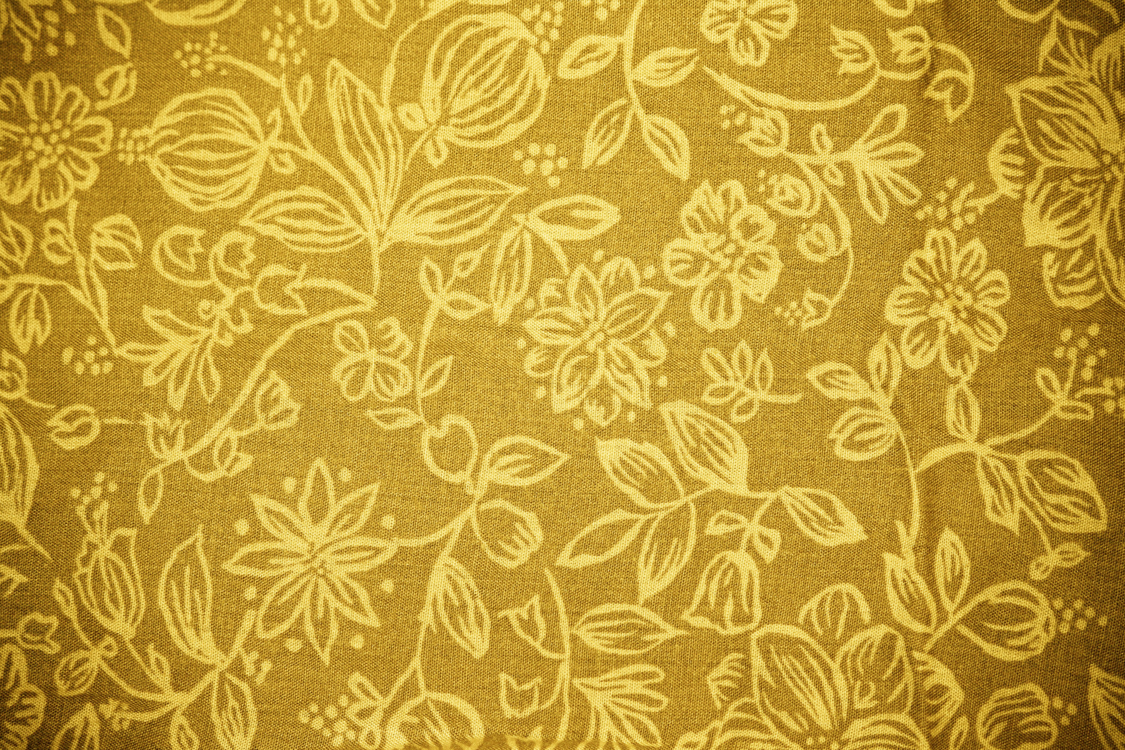 Gold Fabric With Floral Pattern Texture