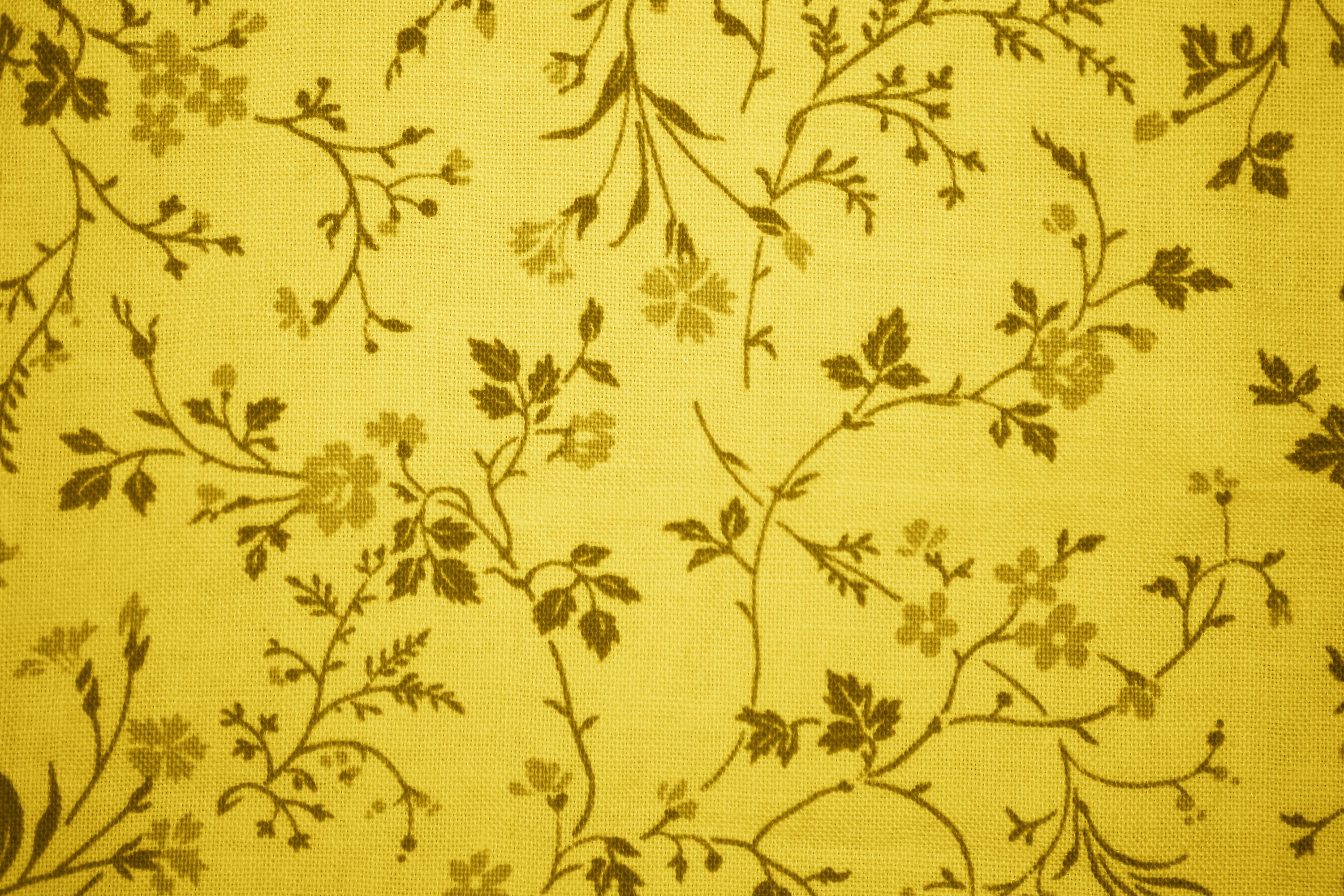 Gold Floral Print Fabric Texture