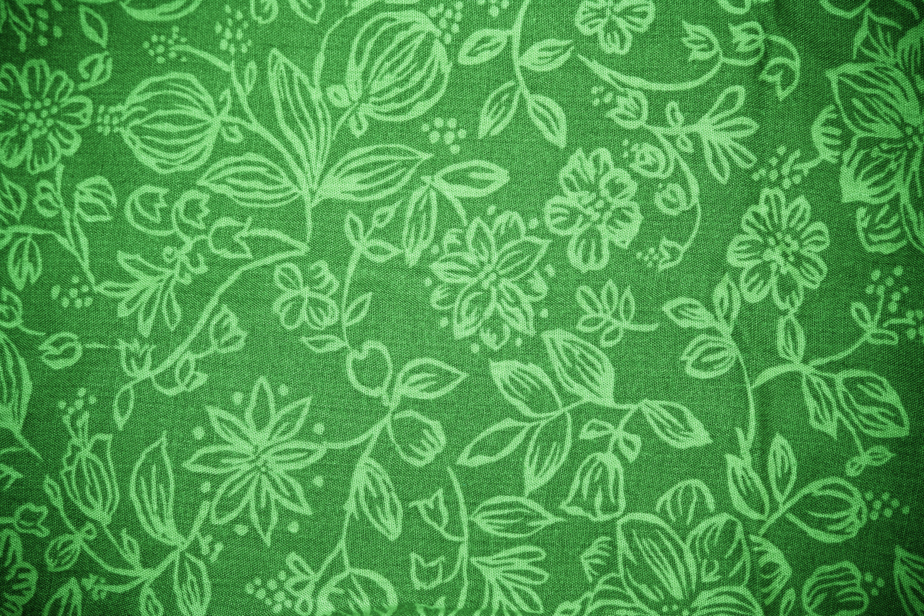Green Fabric with Floral Pattern Texture Picture | Free ...