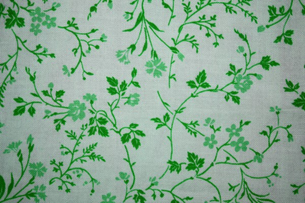 Green on White Floral Print Fabric Texture - Free High Resolution Photo