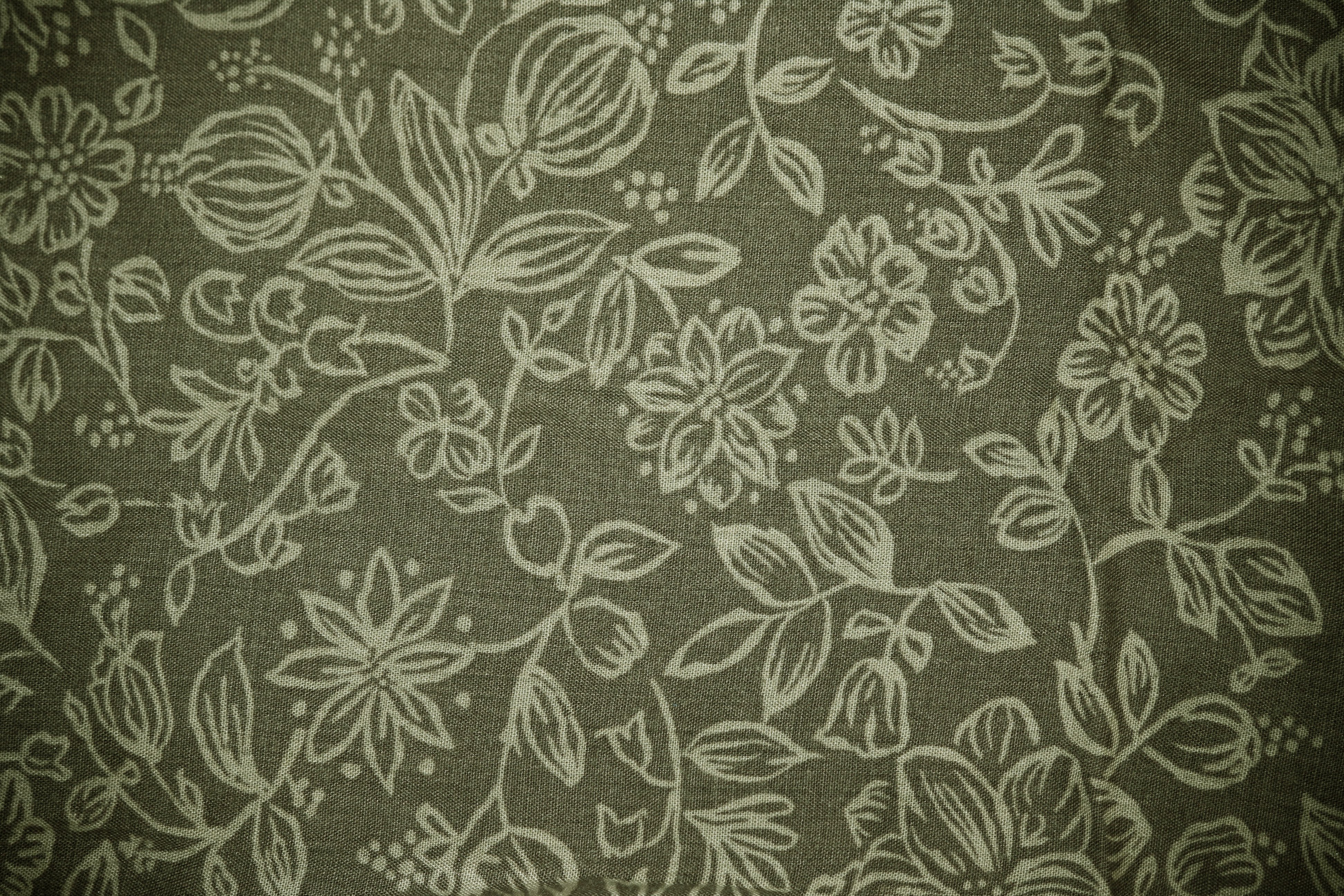 Olive Green Fabric With Floral Pattern Texture