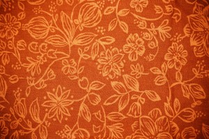 Orange Fabric with Floral Pattern Texture - Free High Resolution Photo