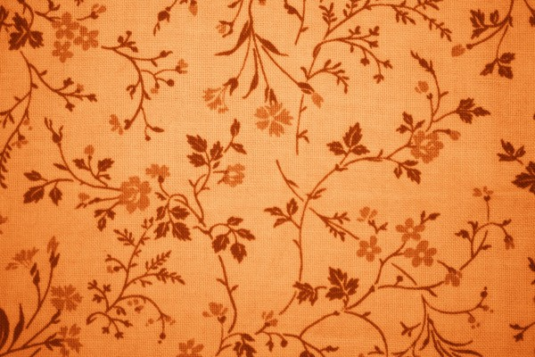 Orange Floral Print Fabric Texture - Free High Resolution Photo