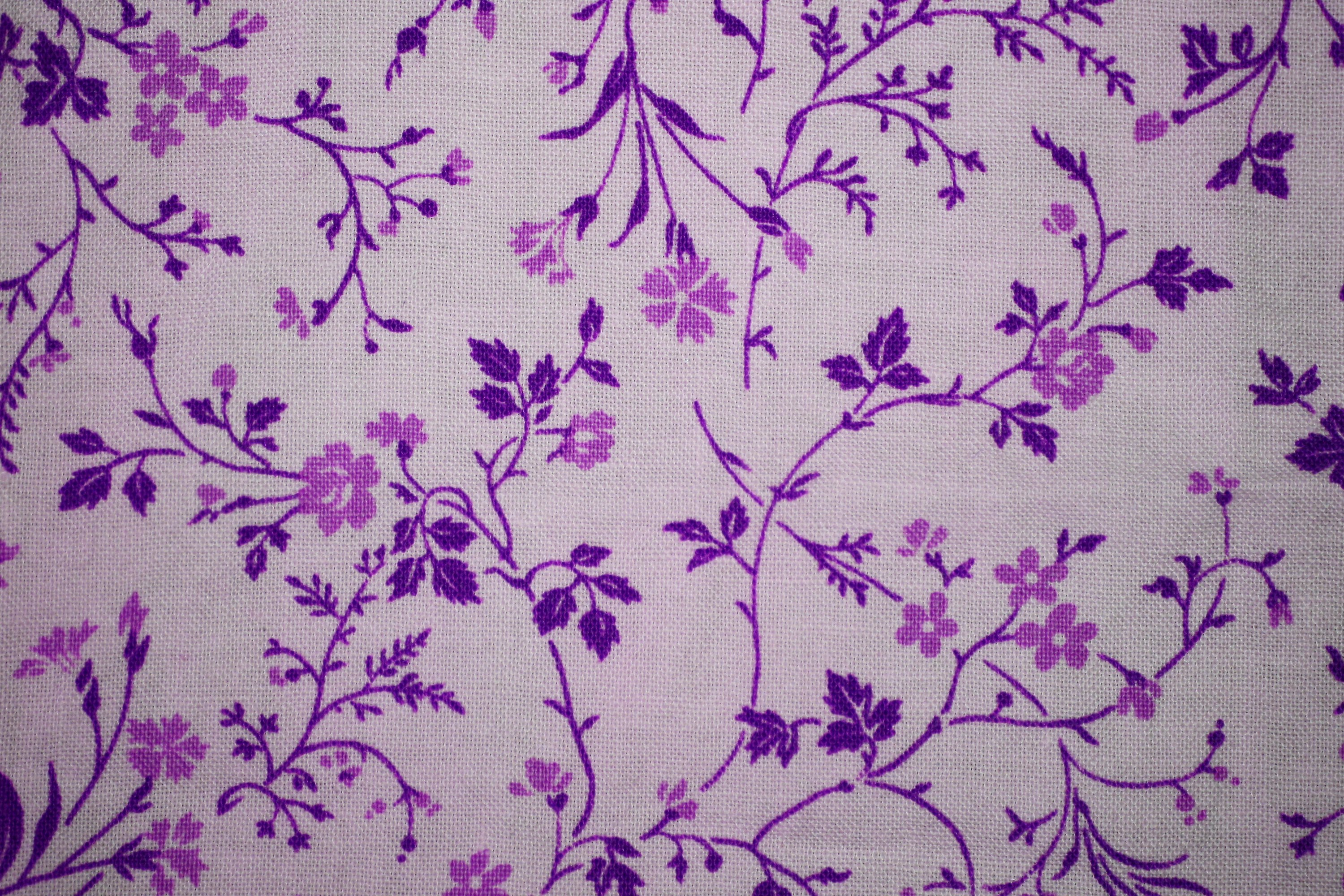 purple on white floral print fabric texture picture free