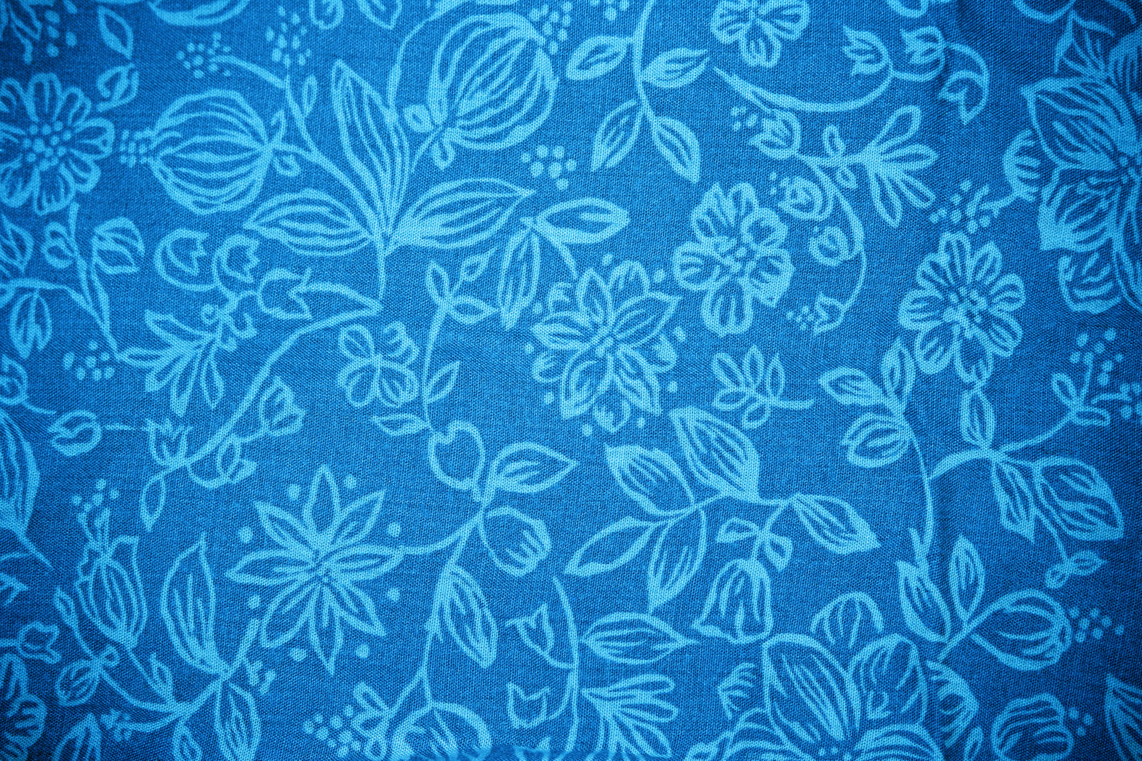 Sky blue fabric with floral pattern texture free high resolution