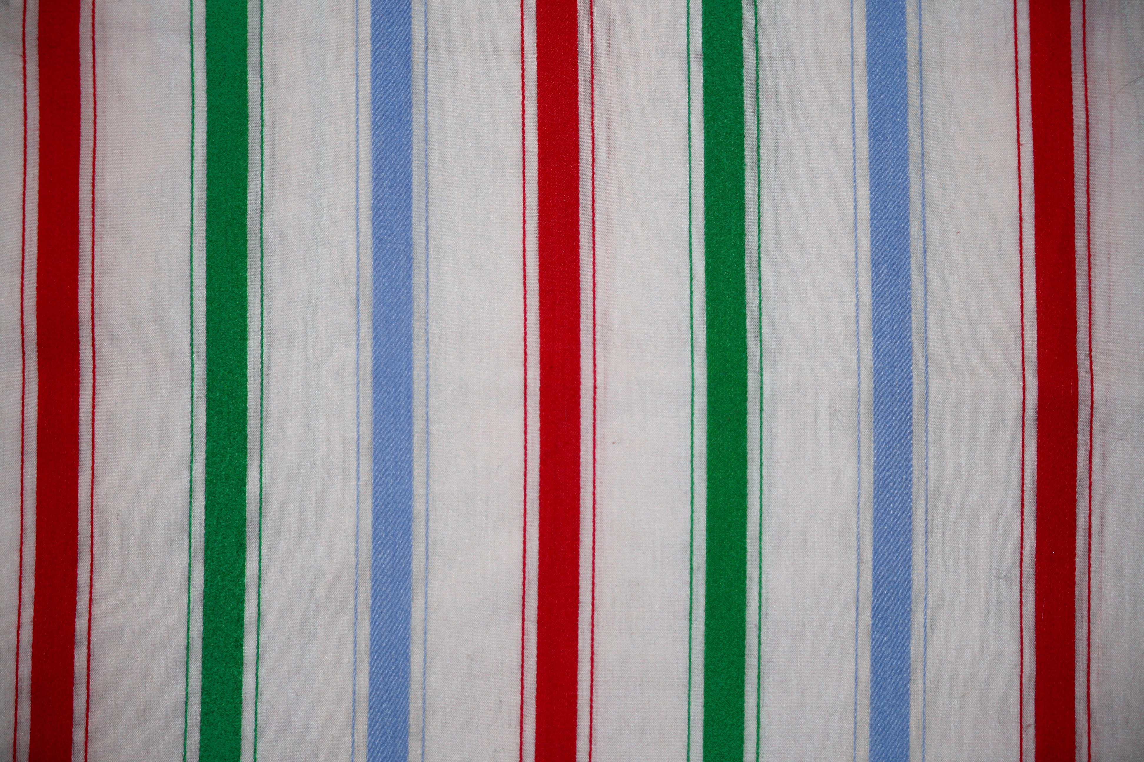 Stripe Blue Green And White: Striped Fabric Texture Green, Blue And Red On White