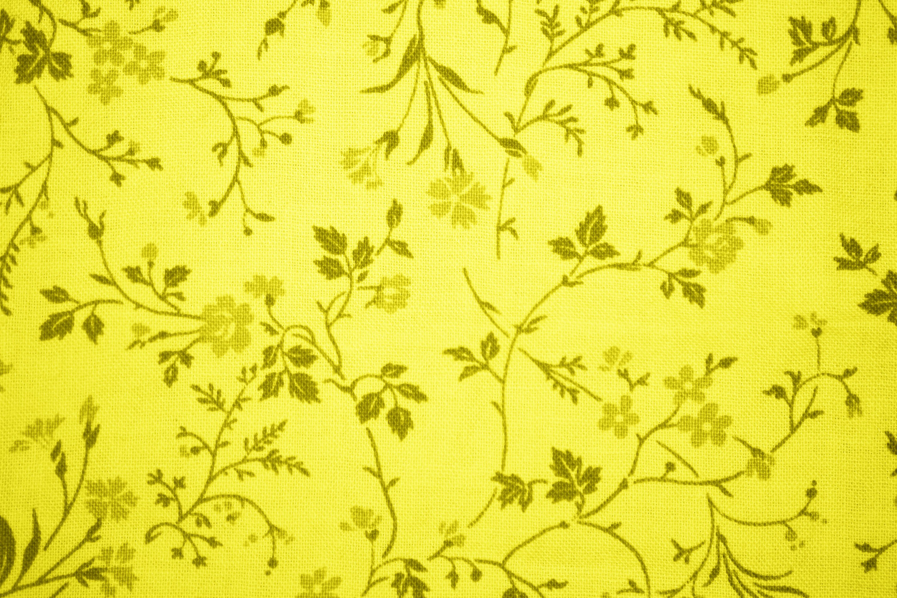 Yellow Floral Print Fabric Texture Picture Free Photograph