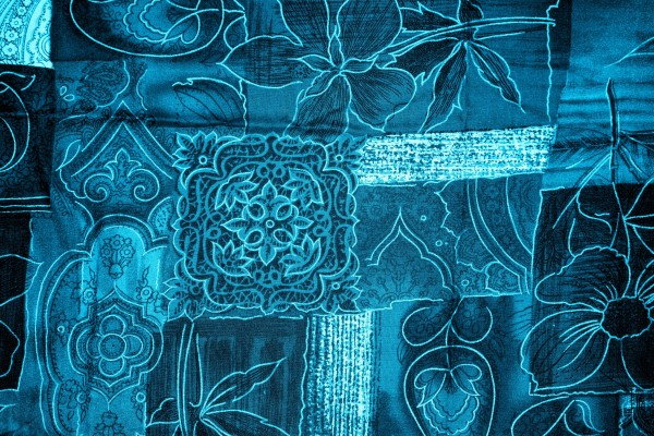 Azure Blue Patchwork Fabric Texture - Free High Resolution Photo