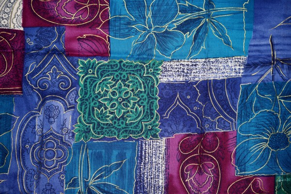 Blue, Green and Magenta Patchwork Fabric Texture - Free High Resolution Photo