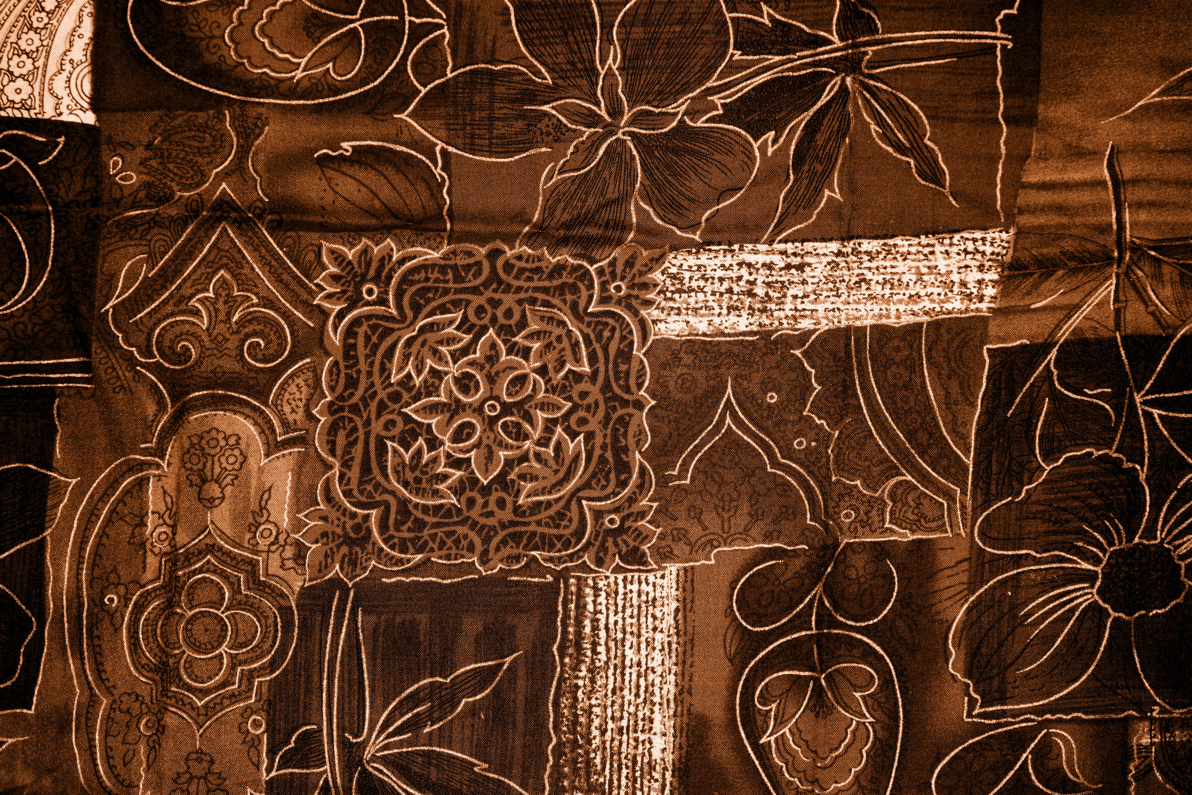 Brown Patchwork Fabric Texture Picture Free Photograph